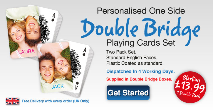 bridge playing cards double pack personlised one side