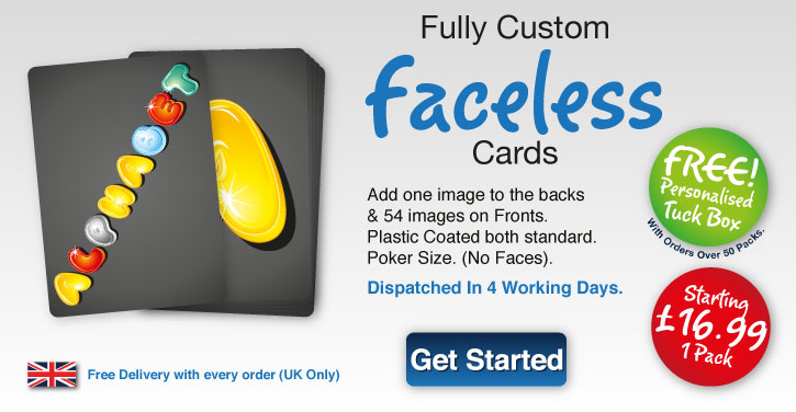faceless playing card personlised both sides