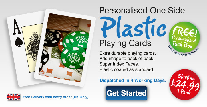plastic poker playing card personlised one side