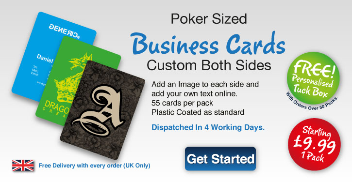 Personalised playing cards from 899 with free uk delivery poker sized business cards reheart Image collections