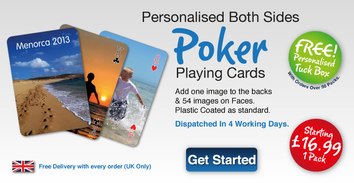 poker playing card personlised both sides