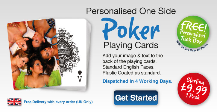 poker playing card personlised one side